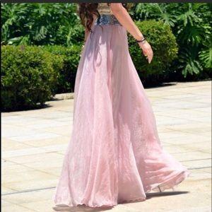 Pink chiffon maxi skirt